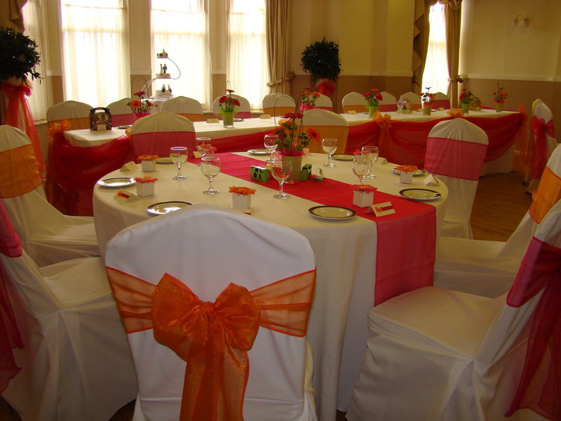 Chair covers balloons wedding and party decoration bright orange wedding decoration junglespirit Gallery